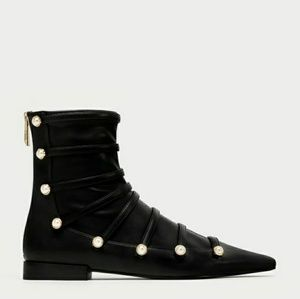 NEW ZARA PEARL ANKLE BOOTS